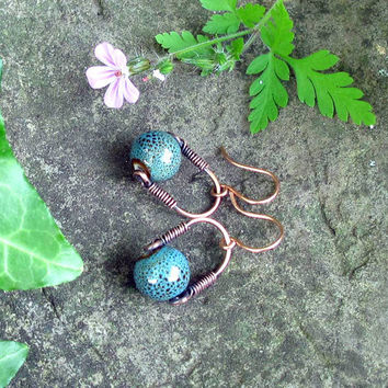 Copper and teal blue ceramic bead earrings - Wire wrapped copper dangles