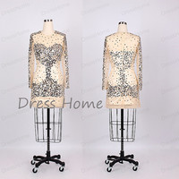 Sexy Nude See Through Long Sleeves Heavy Beading Rhinestones Short Homecoming Dress/Mini Cocktail Dress/Prom Dress/Party Dress DH196