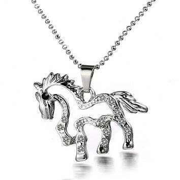 Unisex Necklace of a Small Horse Shape Pendant Necklace