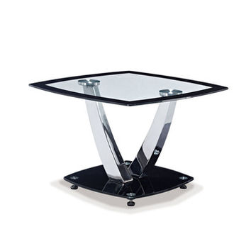 Global Furniture USA T716 Square Glass End Table w/ Chrome Legs