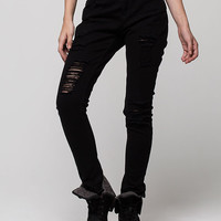 Vanilla Star Premium Slouch Destructed Womens Skinny Jeans Black  In Sizes