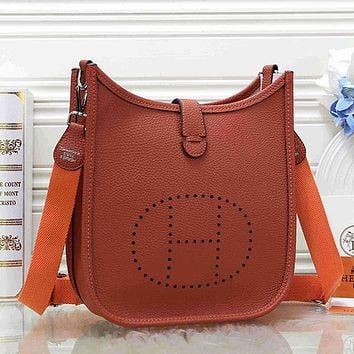 Hermès Women Fashion Leather Satchel Shoulder Bag Crossbody