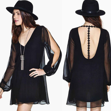 Deep V Backless Dress Embroidery Mosaic Long Sleeve Double-layered One Piece Dress [6048300161]