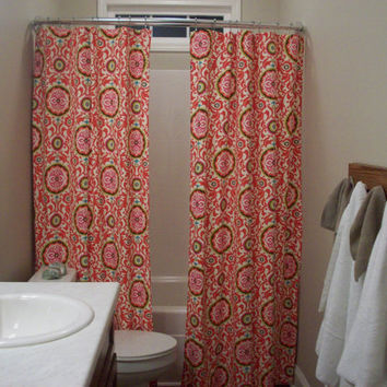 "Extra Long, Reg. length also! Custom Double Panel/Split Bathroom Shower Curtain-72"", 84"", 90"", 96"", 108"", 120""-Waverly Celestial Sun Fiesta"