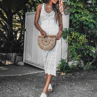 Sexy hollow out white dress women Bohemian o neck sleeveless long dress backless beach midi dress female