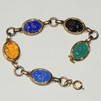 Vintage Glass Scarab Bracelet, Colorful, Links, Egyptian Revival,Red, Green, Blue, Black, Yellow, vintage jewelry