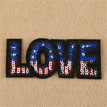 Hot sale women/men/boy/girl clothes embroidery patch fashion sequins love flag badge iron on patches for clothing stick fabric