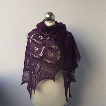Purple Plum hand knitted   lace shawl with nupps, SUMMER SALE 15%OFF