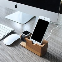 Waloo Bamboo Charging Dock for Apple Watch and iPhone
