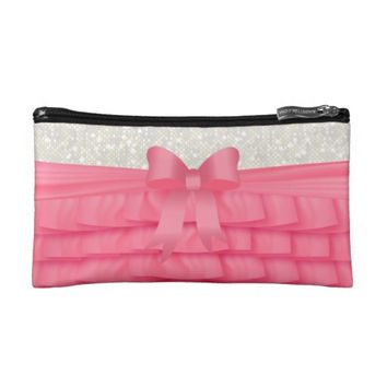 Satin Pink Ruffles and White Glitter Makeup Bags