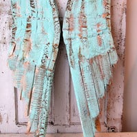 Large wooden angel wings wall hanging robins aqua blue mix rusted detailed metal and distressed shabby cottage home decor Anita Spero design
