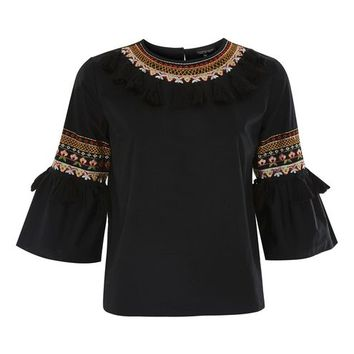 Tassel Embroidered Poplin Top - Shirts & Blouses - Clothing