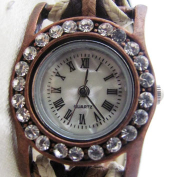 Handmade Orlogin's Style Bracelet Crystal Watch FREE SHIPPING