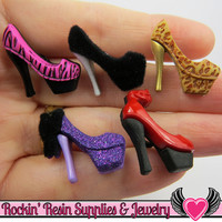 Jesse James Buttons 5pc HIGH HEELs / Turn them Into Flatback Decoden Cabochons
