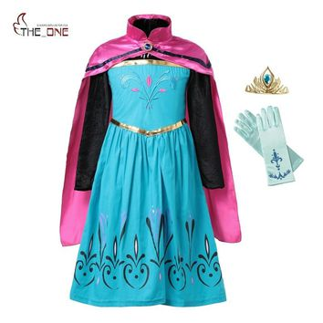 MUABABY Elsa Coronation Dress up Clothes Girl Snow Queen Flower Embroidery Cotton Anna Princess Party Cosplay Costume with Cloak