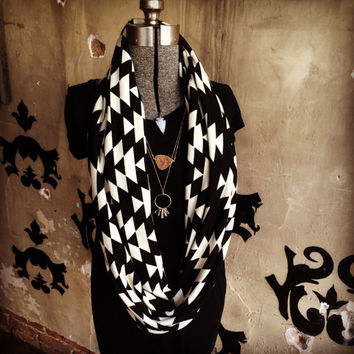 Mod Aztec Infinity scarf for fall - soft cozy knit black and white aztec scarf