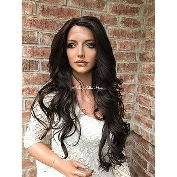 "Brown Human Hair Blend lace front wig 26"" Breanna"