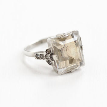 Vintage Sterling Silver Art Deco Emerald Cut Clear Crystal Ring - Size 6 Clear Glass Stone 1930s 1940s Rhinestone Jewelry Uncas