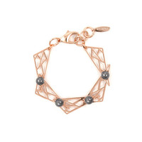Vertigo Hinged Triangle Bracelet w/ Spheres - Rose Gold/ Dark Grey Pearls