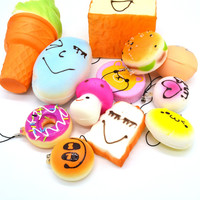12PCS/Lot Squishy Kit Bread Scented Panda Toast Cone Hamburger Turtle Phone Straps Kids Gift Collectible