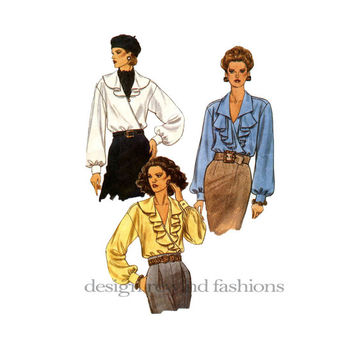 1990s Wrap POET'S BLOUSE w/ Flounce Variations Day, Career, Work Evening Blouse Vogue 8732 Vintage Sewing Pattern Bust 30.5-31.5-32.5 UNCUT