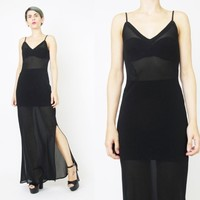 90s Sheer Black Maxi Slip Dress (S)