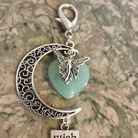 Pretty Green Aventurine Heart Gemstones, Half Moon, Sweet Fairy, WISH Tag Purse Clip w/ Free Bag & Message Card.Healing Energy Infused.
