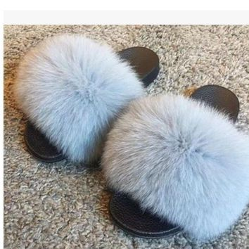 Women Fashion Genuine Fox Fur Slipper Indoor Outdoor Flat Soft Shoes 8 Color New