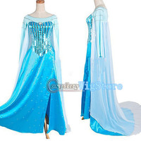 Frozen Costume Snow Queen Elsa Costume Princess Dress Custom Size For Kids Blue Sequined Dress Cosplay Costume High Quality