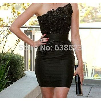 DAQ2053  Hot Sales Strapless Little Black Satin Mini Lace Applique Beaded Short Cocktail Dresses