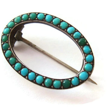 Vintage Edwardian Persian turquoise and silver brooch, sterling silver, C clasp, small oval, dates from early 1900s. #244.