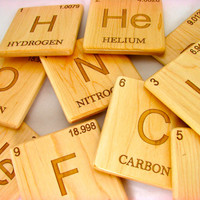 Wood Coaster, Periodic Table, Laser Engraved Elements, Chemistry,