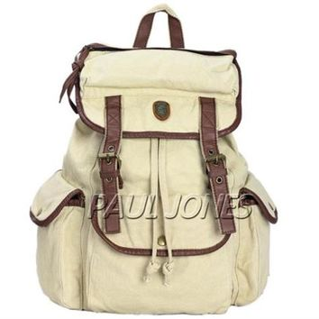 Vintage Unisex Large WOMEN Casual Canvas Leather Backpack Rucksack Bookbags Bag