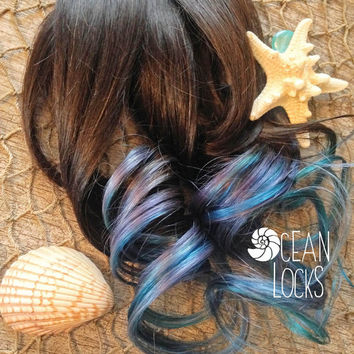"Ombre Hair, IN STOCK, 20"" Long, Hair Extensions Clip In, Teal Hair, Green Hair, Blue Hair, Black Hair, Brown Hair, Dip Dye Hair"