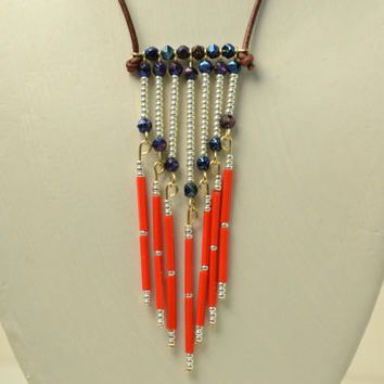 Beaded Chevron Glass Leather Necklace