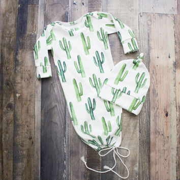 Cactus Newborn Going Home Outfit