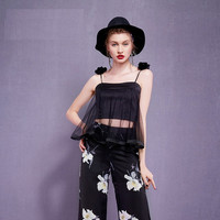 Casual Spaghetti Strap With Flower Flounce Mesh Tops