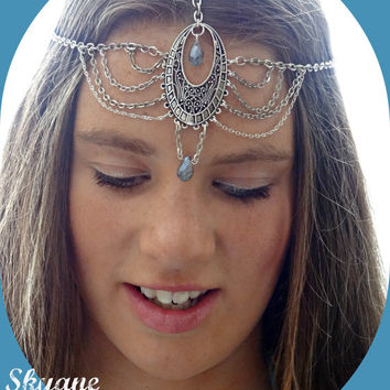 Headpiece Hair Jewelry Coachella Headpiece Hair Accessory Blue Head Chain Head Jewelry Chain Head Piece Headband Festival Boho  - Skyane