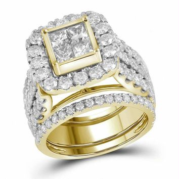14kt Yellow Gold Women's Princess Diamond 3-Piece Bridal Wedding Engagement Ring Band Set 4.00 Cttw - FREE Shipping (US/CAN)