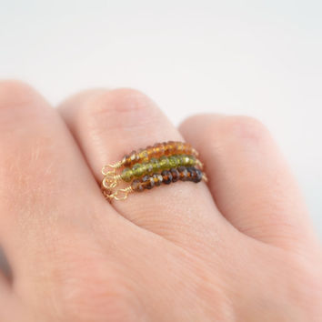 NEW Stacking Rings, Set of 3, Genuine Petro Tourmaline, Gemstone Row, Gold Filled Chain, Autumn Colors, Olive Green, Size 6 7, Free Shipping