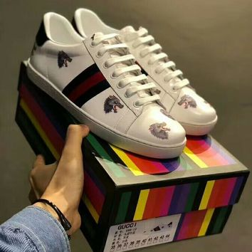 "GUCCI summer casual color matching embroidery series high quality low top ""wolf head"" shoes F-A50-XYZ"