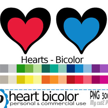 Bicolor heart  - Clipart - 30 colors - 30 PNG files - 300 dpi - Instant download - Transparent PNG-  valentine's day -CA10