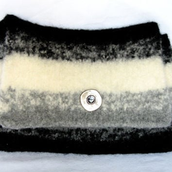 Knitted Felted Envelope Style Purse With Detachable Shoulder Strap in Shades of Black Winter White and Gray Wool
