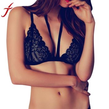 Black Women Bandage Floral Lace Bralette Bustier Crop Top Sheer Triangle Bra V-Neck Bodycon Bra Underwear Vest