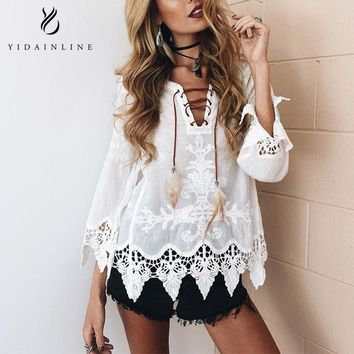 Fashion Women Blouses Tops 2018 plus size Sexy Lace Floral harajuku Women's Shirt White Tunic Shirts Boho Hollow Top kimono