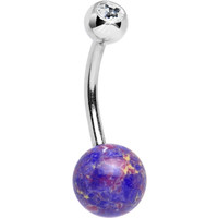 Clear Gem Twilight Tempest Purple Acrylic Belly Ring | Body Candy Body Jewelry