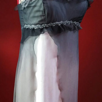 SAMPLE SALE: OOAK Upcycled Black Grey White Sleeveless High Slit Empire Waist Dress With Silver Metallic Trim Size Small/Medium