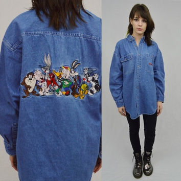 Denim Shirt Looney Tunes Embroidered Cartoon Large Oversize Mens Womens UnisexVintage Clothing 90s Acme Clothing Denim Oxford Collared Shirt