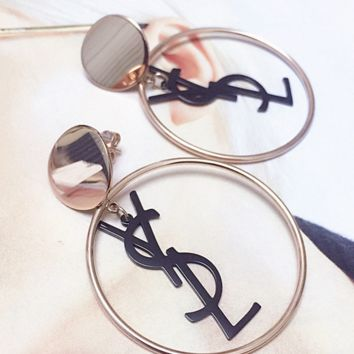 YSL round shape letter shining earrings