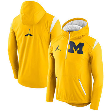 Brand Jordan Michigan Wolverines Maize 2017 Sideline Fly Rush Half-Zip Jacket